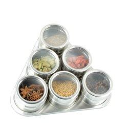 6 pots à épices aimantés sur support