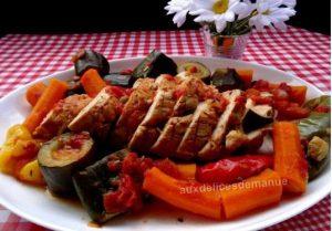 Recette rôti de dinde au paprika et aux légumes