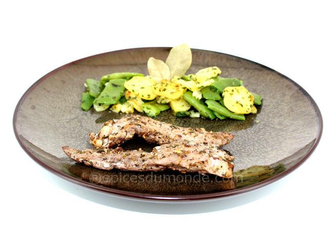 recette aiguillettes de canard aux épices cajun pommes de terre et haricots plats - copyright épices du monde